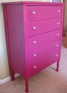 DIY Bright Pink Dresser