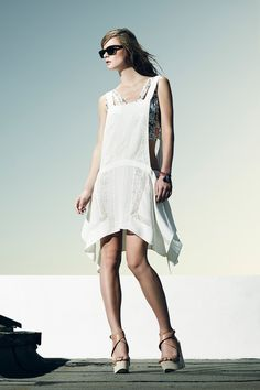BCBG Max Azria. low side cut outs. boho chic. strappy crop top. asymmetry. layering.
