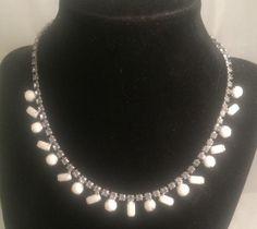 Vintage Pale Blue Rhinestone Milk Glass Necklace Silvertone Adjustable
