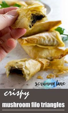 These crispy mushroom filo triangles are sure to be a crowd pleaser! Only 7 ingredients, and perfect for making ahead and freezing. Greek Appetizers, Filo Pastry, Slow Cooker Desserts, Easy Party Food, Food For A Crowd, Party Desserts, Mediterranean Recipes, Greek Recipes, Food Inspiration