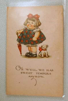 Twelvetrees Vintage Postcard Girl and Dog by CharmedCollectibles