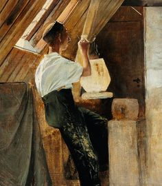 Laurits Andersen Ring (1854-1933): A potter at his work in the attic, 1896