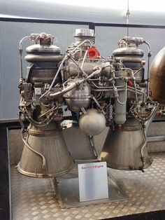 Bristol Siddeley Gamma 2 engine fueled with RP-1 (kerosine) and Peroxide as oxidizer.  The Gamma 2 or Double Gamma was a two chamber version, used for the second stage of the Black Arrow satellite launch vehicle. As the only Gamma not required to operate at sea level, the nozzles were extended to allow for better expansion of exhaust gases at high altitudes.