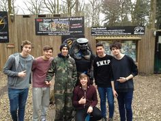 Louis, Zayn, Ashton, Luke, Calum and Michael paintballing today Zayn Malik, Niall Horan, Liam Payne, Louis Tomlinson, Harry Styles, One Direction Music, Great Days Out, First Love, My Love