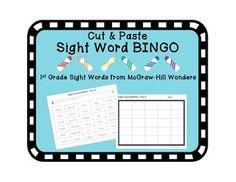 Sight Word BINGO: Cut & Paste for 1st Grade McGraw-Hill Wonders curriculum.