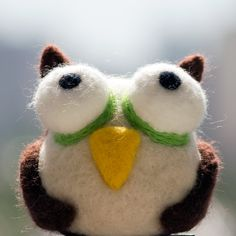 Needle Felted Animal Owl by ChameleonArtStudio on Etsy