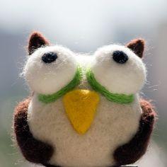 Needle Felted Animal Owl by ChameleonArtStudio on Etsy