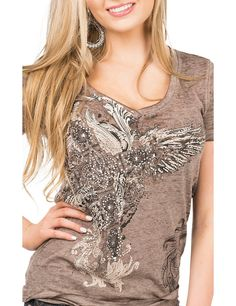 Cowgirl Legend Women's Brown with Graphic Cross Design Cap Sleeve Casual Knit Top | Cavender's