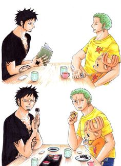 Trafalgar D. Water Law, Tony Tony Chopper, and Roronoa Zoro One piece