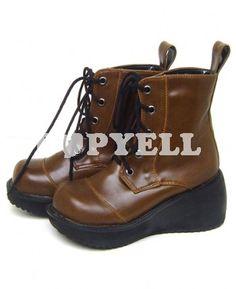 #chaussures #bottines #brun Bottines lolita brun plateforme avec bandes