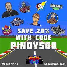 #Repost @laserpins   To celebrate Memorial Weekend and the 100th running of the Indy 500 we're having a sale!  You can get 20% off by using the code PINDY500 now through Monday at LaserPins.com!