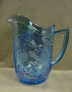 "SIGNED IMPERIAL BLUE CARNIVAL GLASS ROBIN BIRD 8 1/2"" PITCHER IRRIDESCENT"