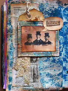 Journal page, Tim Holtz warehouse district stamps and washi tape.