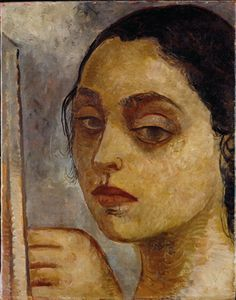 Lasar Segall (Lithuania 1891-1957 Brazil), Portrait of Lucy I, oil/sand on canvas, 1935. Lucy Citti Ferreira was one of Segall's favorite models. This painting is the first of a series of Lucy's portraits. The addition of sand gives volume to the painting's sensuousness. Next to her face is the artist's hand. Collection Museu Lasar Segall, Saõ Paulo, Brazil.