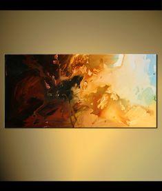 PINTURA a medida - Original contemporáneo Modern Abstract Painting by Osnat  Este es un cuadro hecho por encargo, será cerrar como sea posible a la que ves aquí, que ya he vendido.  Marco de tiempo para crear: 4-5 días laborales.  Nombre de la pintura: Sol de Helioscope  Tamaño: 48 x 24 x1.5 profunda Galería lienzo Medio: Acrílico sobre lienzo estirado galería-envuelto  Sol del Helioscope es una contemporánea moderna pintura abstracta pintado en un staples gratis partes de la lona. Está…