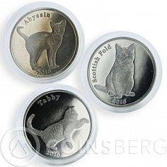 Isle of Stroma 1 pound set of 3 coins cats Scottish Fold Abyssin Tubby 2016