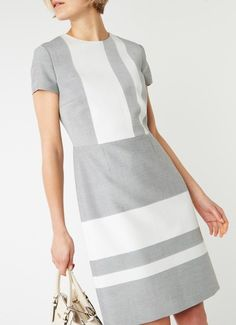 bffcdf9a $575 Hugo Boss Hermely Colorblock Striped Short Sleeve Sheath Dress NWT  H287 #HUGOBOSS #SheathDress #PartyCocktail