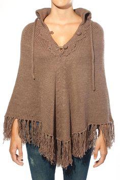Poncho de lana marrón Luna Llena otoño invierno 2011 2012