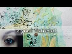 Mixed Media Layout Tutorial - YouTube Love the stencil and water colors used!!!