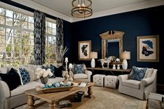 Navy Living Room-Parade of Homes 2012 - transitional - living room - other metro - LGB Interiors Blue And White Living Room, Blue Living Room Decor, Living Room Colors, New Living Room, Living Room Interior, Living Room Designs, Blue Bedroom, Small Living, Living Room Decor Collections