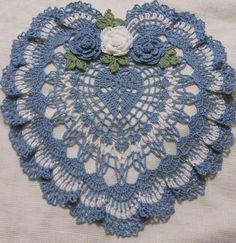 Valentines crocheted heart doily delf blue and white  by Aeshagirl