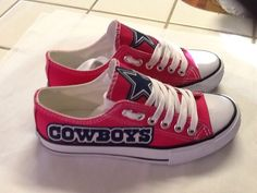 Dallas Cowboys WOMANS  Hot Pink Tennis Shoes Size  7,8,9  These would be better as high tops, but love 'em anyway!
