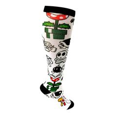 Nintendo Printed knee high socks featuring such characters as Shy Guy, Bob-omb, Goomba etc..