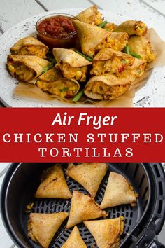 These air-fried chicken stuffed tortillas are so easy to make and are very amenable to ingredient modifications. Fill them with any cheesy ingredients. Great to make ahead and pop in the air fryer or oven right before you are ready to serve them. Air Fryer Recipes Meat, Air Frier Recipes, Air Fryer Dinner Recipes, Meat Recipes, Recipies, Wonton Recipes, Snacks Recipes, Potato Recipes, Fish Recipes