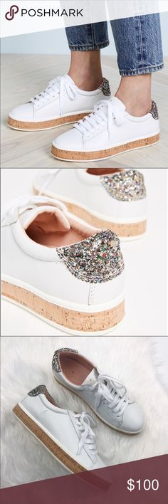00f4cc9c50716 NWT Kate Spade White Glitter Cork Sneakers Brand new without box! Size  White with glitter back and cork platform.