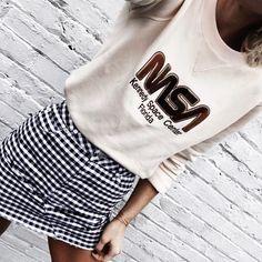 "10k Likes, 103 Comments - Mary Seng (@happilygrey) on Instagram: ""sweatshirt + skirt combo🖤"""
