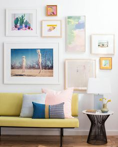 Living Room_Gallery Wall_White Clean_Pink_Green_Emily Henderson_Etsy_Framebridge_Midcentury Modern