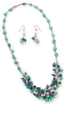 Single-Strand Necklace and Earring Set with Turquoise Gemstone Beads, Sodalite Gemstone Beads and Gold Bead Components