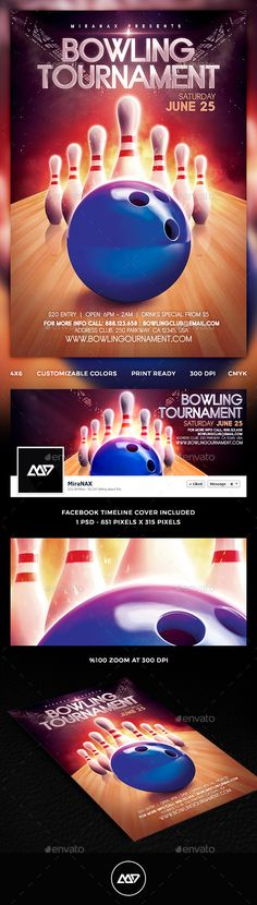 Bowling Tournament Flyer Flyer template, Template and Creative - bowling flyer template