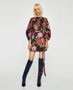 ZARA - WOMAN - PRINTED MINI DRESS WITH FULL SLEEVES