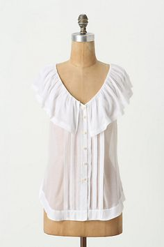 """Blushing Flounced Blouse #anthropologie - collar stops short of CB by about 3-4"""" - tucks surround CB too"""