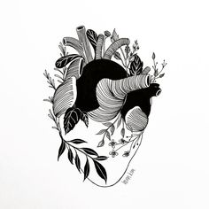 The heart is organic in black white pen art