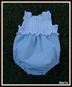 Rana piqué con cuerpo de ochitos Baby Knitting, Crochet Baby, Knit Crochet, Boho Shorts, Baby Kids, Rompers, Children, Fabric, Pattern