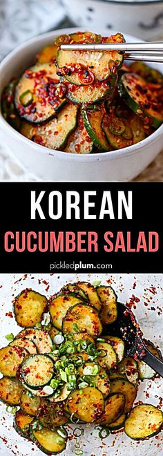 This spicy and smoky Korean Cucumber Salad Recipe is ready in 10 minutes and has a refreshing crunch Serve as a side banchan at your next Korean BBQ feast or backyard cookout koreanfood side cucumberrecipe salad spicyrecipe Cucumber Recipes, Spicy Recipes, Healthy Salad Recipes, Vegetarian Recipes, Cooking Recipes, Healthy Food, Healthy Korean Recipes, Vegan Korean Food, Recipes With Cucumbers
