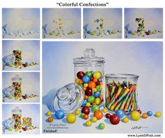 "Step-by-step watercolor painting how to. Progress photos of painting jars of candy. ""Colorful Confections"" by Lynn D. Pratt. See more on my site: http://lynndpratt.com/the-process.html"