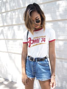 WORLD TOUR Unconscious Style || @shhtephs David Bowie Crop Top – Forever21 | High Waist Levis Shorts – Thrifted (Similar) | Chuck Taylor White –Converse | Round Sunglasses – Ray-Ban | Western Tip Belt – ASOS