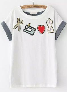 White Short Sleeve Tailor Tools Pattern T-Shirt 15.17