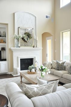 High Ceiling Living Room, Living Room Decor, Living Rooms, Living Area, Living Spaces, Spring Home, Autumn Home, Built Ins, Great Rooms