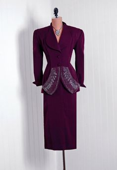 1940s, Embroidered Peplum Suit