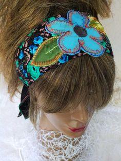 Blue Flowers headband, women headband, Hippie headband, Festival head, Etnic Turkish headband, Girl headband, Boho hairband, women gift