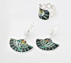 Ring & Ohrringe Vögel -Material: -Silber 999er -Email,Blattsilber,Blattgold,Feinsilber
