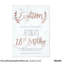 Shop Rose gold typography feathers marble Birthday Invitation created by girly_trend. 18th Birthday Invites, Birthday Party Invitations, 9th Birthday, Invitation Card Design, Invitation Cards, Debut Invitation, 18th Party Ideas, Bohemian Invitation, Debut Ideas