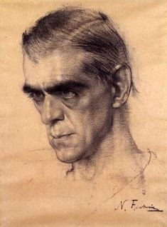 Nicolai Fechin's drawing of Boris Karloff - powerful.