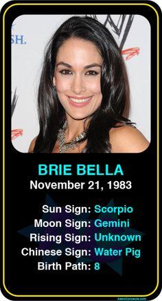 Celeb #Scorpio birthdays: Brie Bella's astrology info! Sign up here to see more: https://www.astroconnects.com/galleries/celeb-birthday-gallery/scorpio?start=150 #astrology #horoscope #zodiac #birthchart #natalchart #briebella