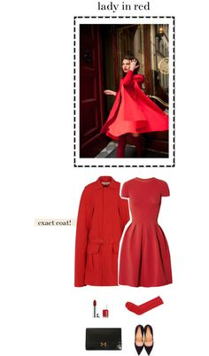 """lady in red"" by freddarling ❤ liked on Polyvore"