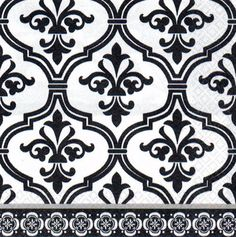 3 BLACK AND WHITE DAMASK PAPER LANTERNS Birthday Party Supplies